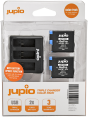 Jupio kit: 2x GoPro HERO8 battery + Compact Triple USB Charger