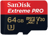 SanDisk microSD 64GB Extreme Pro 100MB/s V30 + adapteris